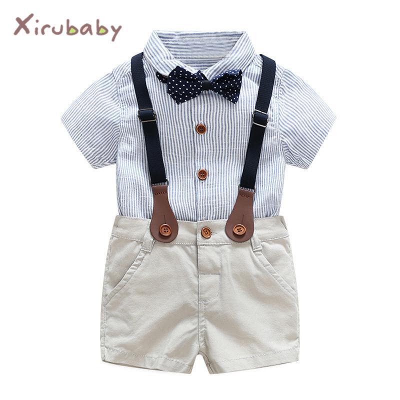 bb43346b0 Compre Bebê Menino Senhores Conjuntos De Roupas 2017 Verão Bebê Recém  Nascido Menino Conjuntos De Roupas Tie Shirt + Roupas Infantis Para O  Desgaste Do ...