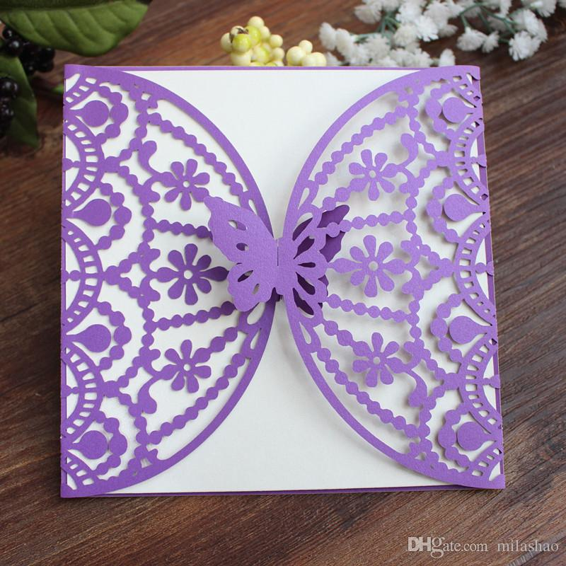 New Butterfly Purple Invitation Cards Cheap Holiday Invitations Save The Day Cards Laser Cutting Custom Printing