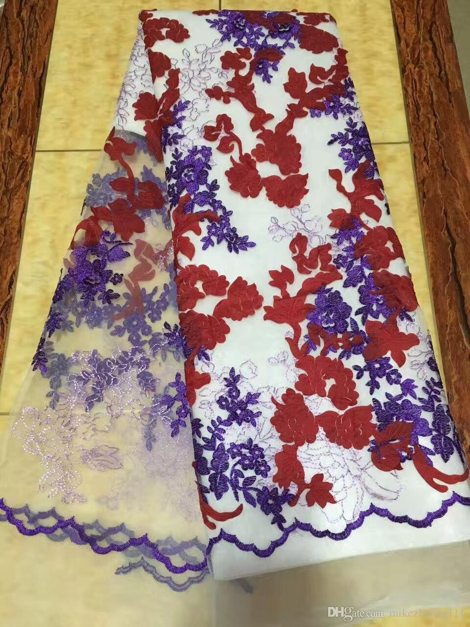 Lilac Wholesale Polyester Embriodery Beads African Lace Fabric / Nigerian Wedding Mesh Net Lace Fabric For Aso Ebi Style