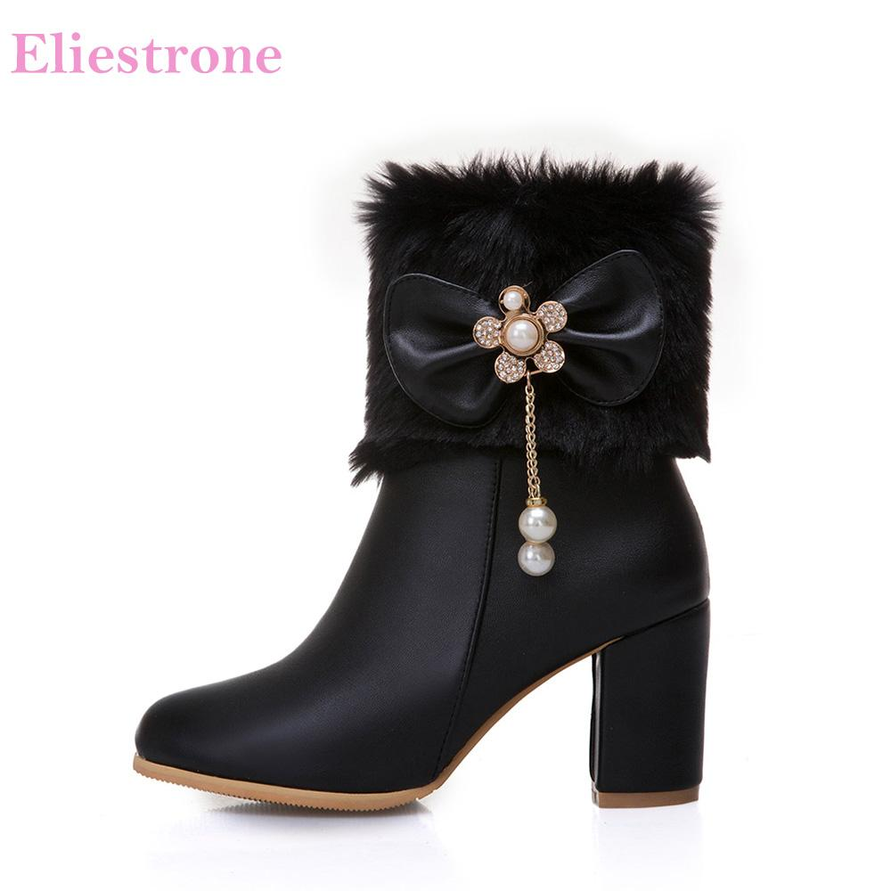 7694c698bec1 Brand New Hot Winter Sweet White Black Women Snow Boots Vogue High Heels  Lady Mid Calf Shoes SY632 Plus Big Size 10 33 45 48 52 Wide Calf Boots  Ariat Boots ...