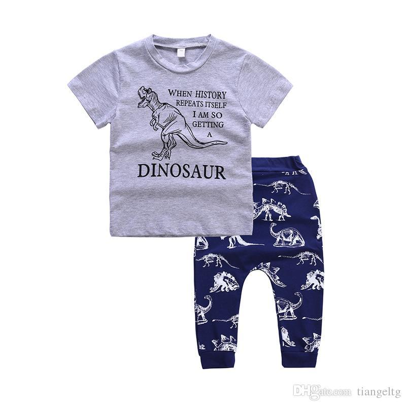 소년 DINOSAUR 티셔츠 바지 두 조각 의류 세트 짧은 소매 공룡 셔츠 공룡 바지 아이 여름 의상 2-6T