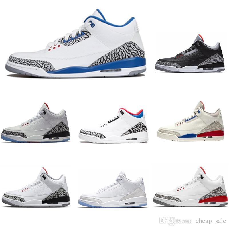 4fef4c2a5fb2f5 New Arrival 3 3s Black Cement Basketball Shoes Men Free Throw Line True Blue  Fire Red Katrina JTH Sneakers Us 7 13 Shoes Kids Mens Basketball Shoes From  ...