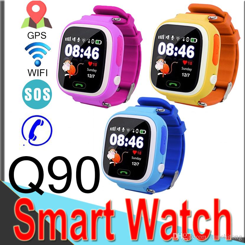 Q90 GPS Cell Phone Smart Watch for Kids Children Watch 1.22 Inch Color Touch Screen WIFI SOS Smart Watch DHL R8
