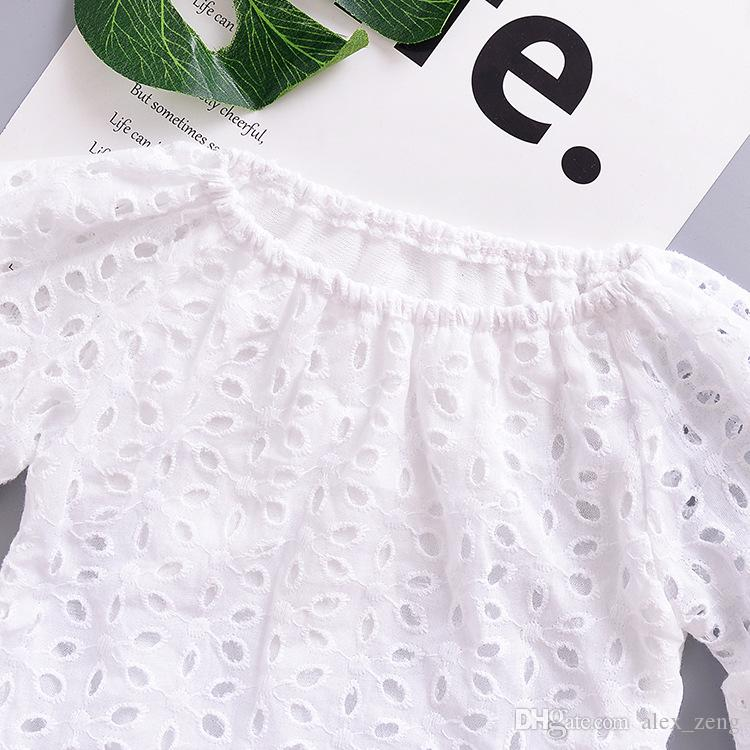 2018 Summer Girls Dresses White Hollow Out Lace Dress Girl Casual Clothes Children Clothing Toddler Puff Sleeve Baby Dress For 1-4years