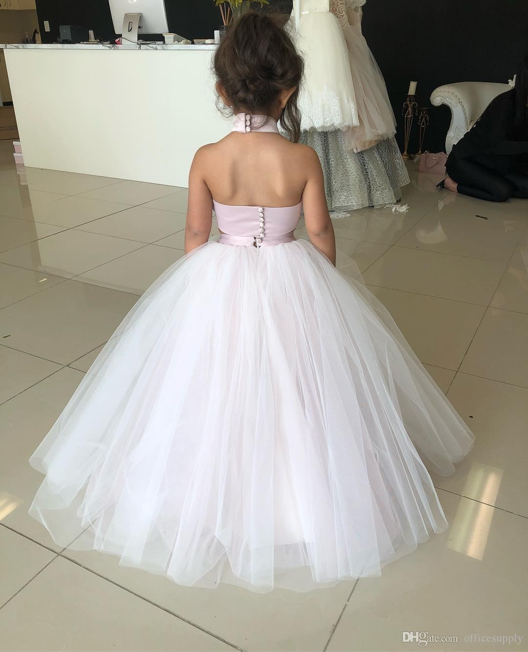 2018 Junior Kids Two Pieces Flower Girl Dresses Princess A Line Halter Neck Backless Girls Toddler Formal Party Wear Gowns Birthday Pageant