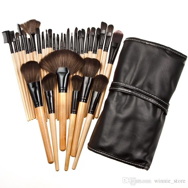 Factory Direct DHL Free! Professional Makeup Brushes Sets Pink Black Wood Hand Face Foundation Eyeshadow Make up Brush Tools with Bag