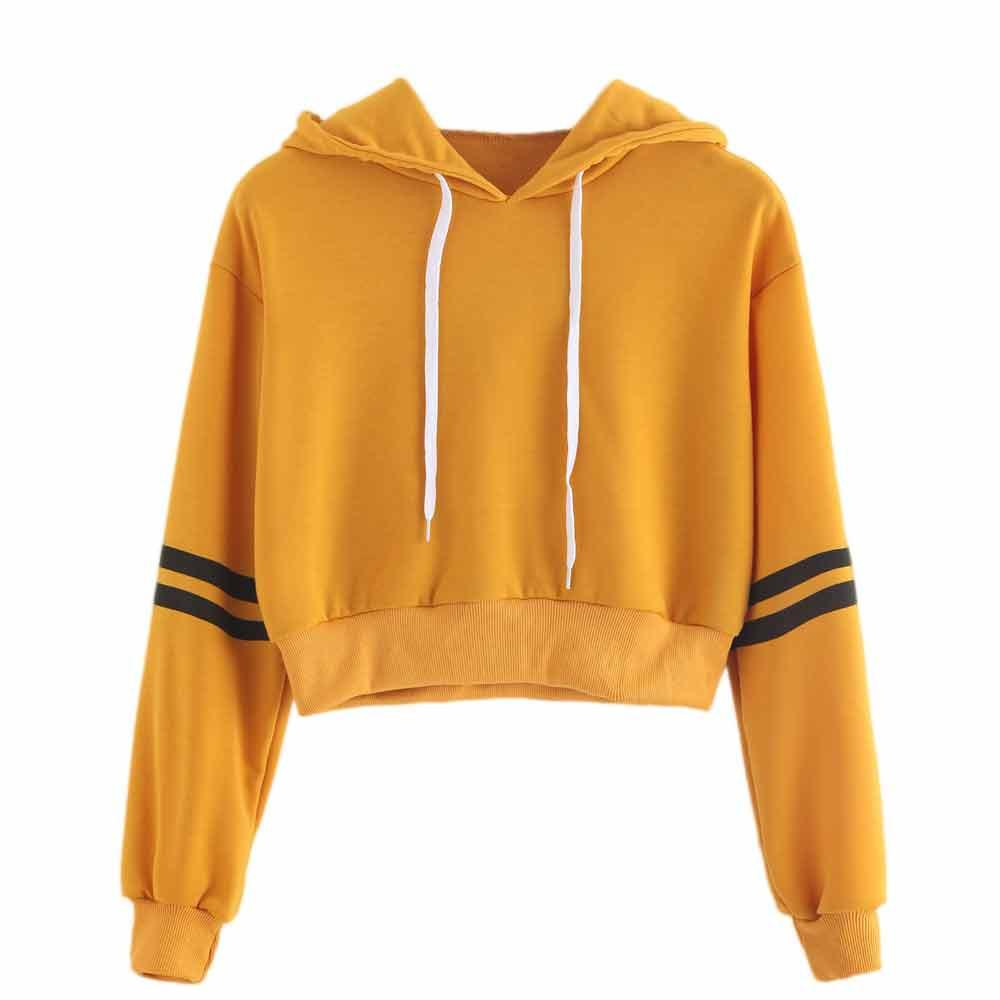 Women Patchwork Striped Crop Hoodie Casual Drawstring Hoody Ladies Sweatshirt Jumper Short Pullovers Moletom Feminino #10