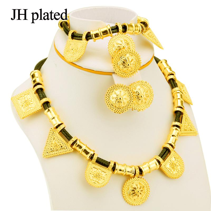 JHplated New Ethiopian Jewelry Gold Color Rope Sets for African /Ethiopia  /Eritrean Women wedding jewelry sets