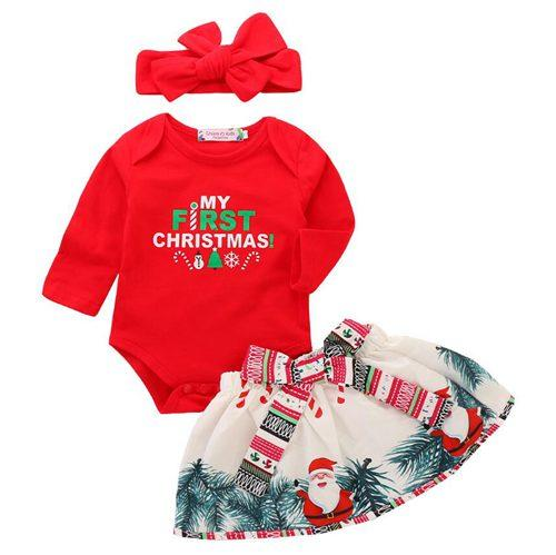 2019 2018 My First Christmas Baby Outfits Girls Boutique Fall Clothing Sets  Toddler Girl Clothes Infant Red Headbands Rompers Santa Tree Skirts 3 From  ... - 2019 2018 My First Christmas Baby Outfits Girls Boutique Fall