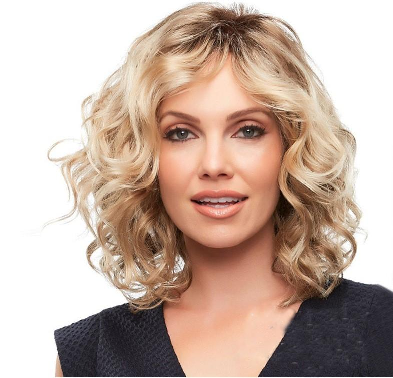 Hair Wigs For Women Curly Short Hair Vendors Wavy Blonde Wigs 38 Cm