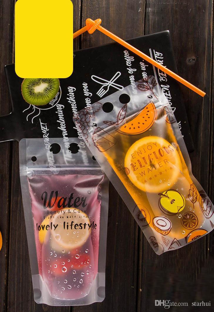400 ml DIY Şeffaf Kendinden sızdırmaz Plastik Içecek Çantası Yaz Içecek Konteyner Içme Çantası Meyve Suyu Gıda Depolama Organizasyonu