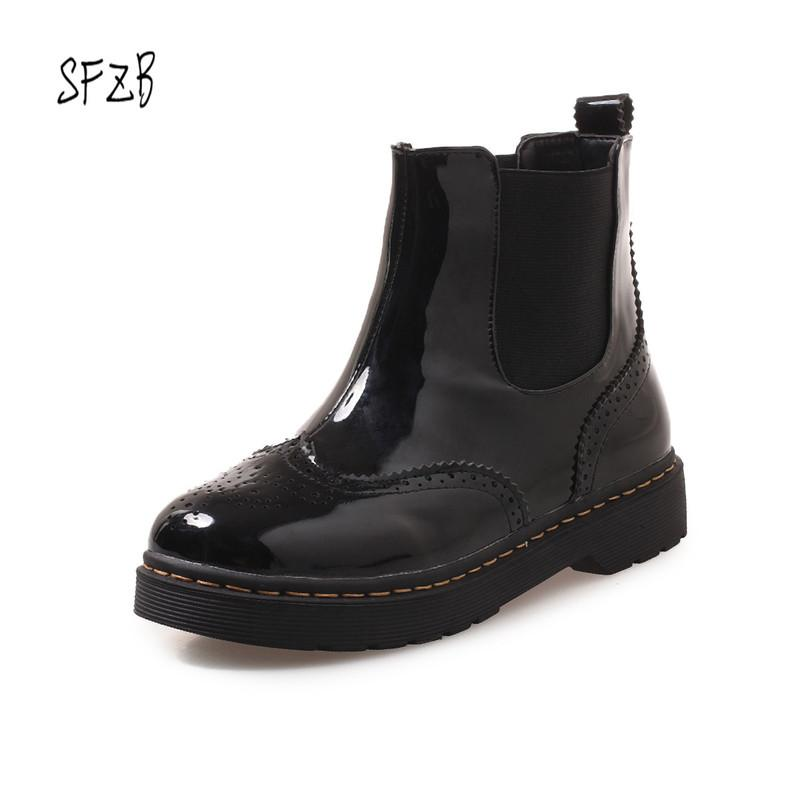 2f017de2a5e SFZB Women Ankle Boots Square High Heel Black Solid Zippers PU Leather  Casual Fashion Platform Ladies Shoes Size 34 43 Chelsea Boots Shoes Online  From ...
