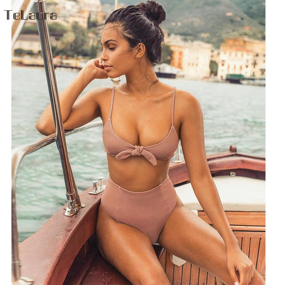 f40a019d845 2018 Sexy High Waist Bikini Women Swimsuit Push Up Swimwear Knot Bikini Set  Summer Beachwear Biquini Bathing Suit Solid Female Online with  40.15 Piece  on ...