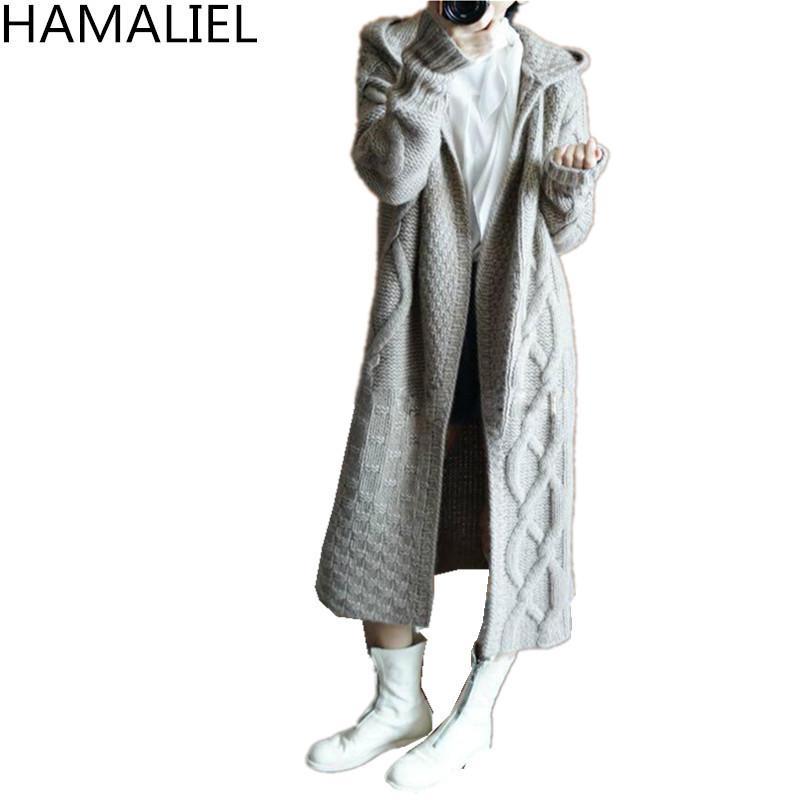 Compre HAMALIEL Otoño Invierno Mujeres Tejer Suéter Largo Abrigo ...