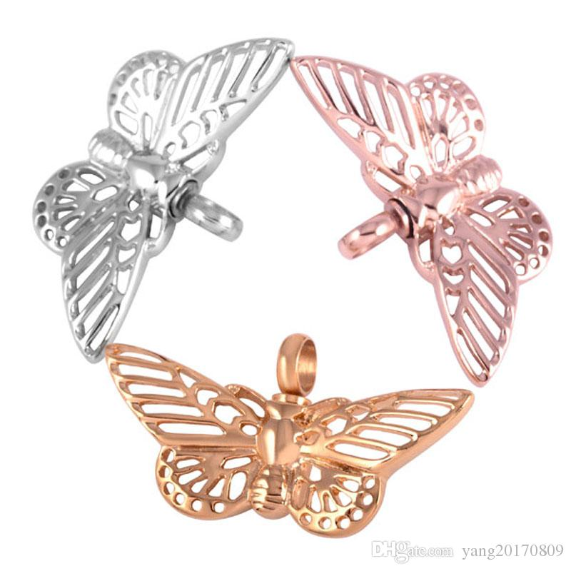 Butterfly Cremation Pendant High Polish Stainless Steel Memorial Jewelry Ashes Holder Urns Keepsake Necklace for Girls DJX8144