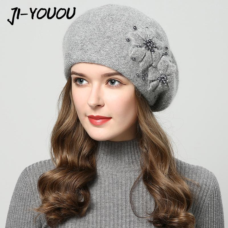 2017 Winter Hats For Women Hat With Rhinestones Rabbit Fur Hats For Women s  Knitted Hat Beanie Thicker Women s Cap Beanies Cool Beanies Beanie Caps  From ... 0c772859fdd