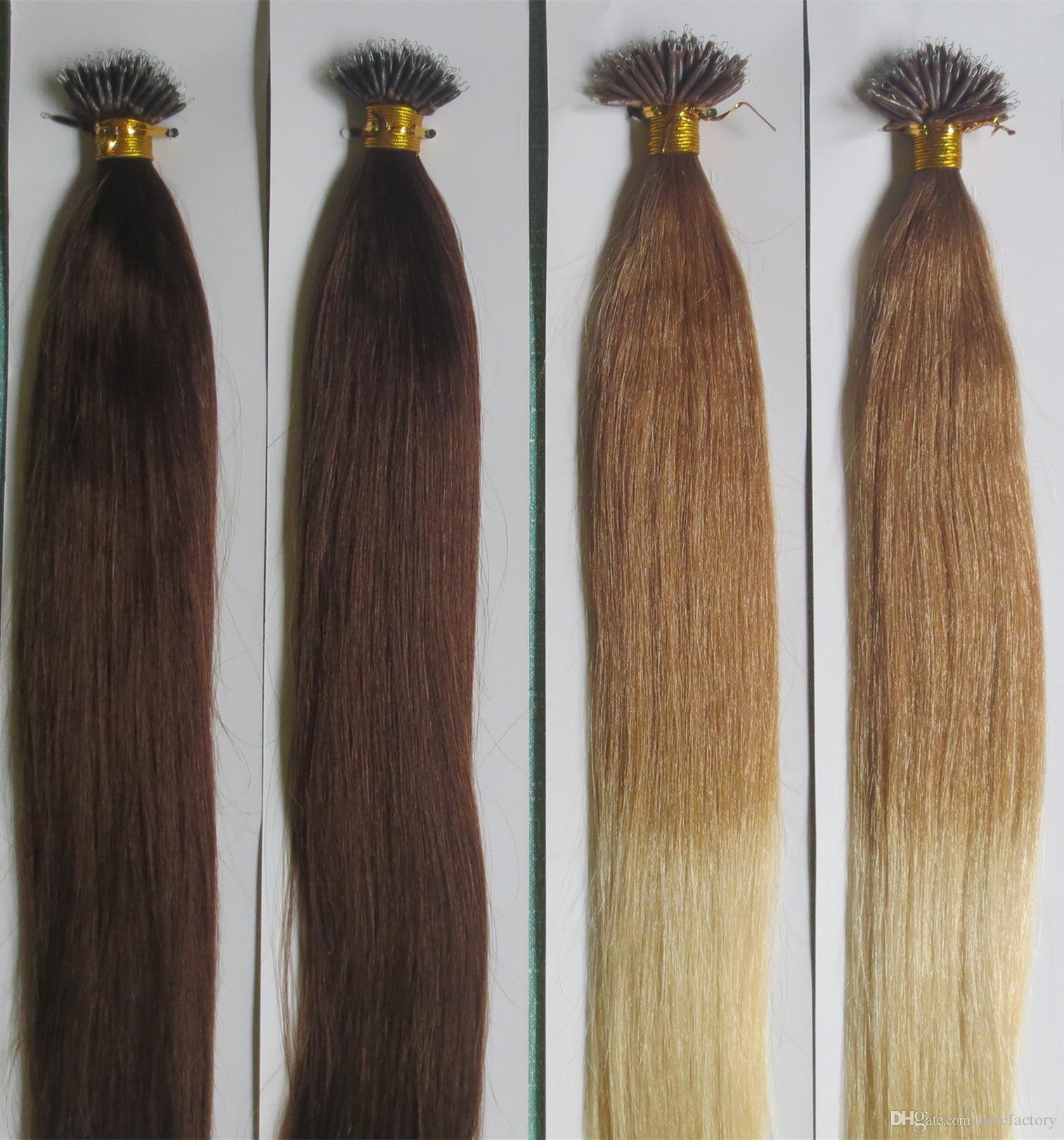 5a Grade Natural Nano Ring Hair Extensions 1gs 200gpack Factory