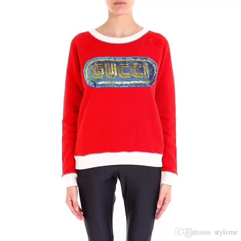 d04b6f9a97d33d 2019 Brand Designer Women Sequin Letters Sweaters 2018 Autumn Winter Casual  Round Neck Red Knit Jumpers Loose Oversized Pullover Tops From Styleme