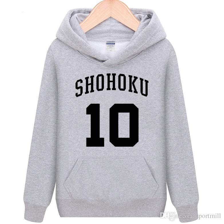 6cd2444db0b Compre Hoodies Shohoku Slam Dunk 10 Camisas De Suor Hanamichi Sakuragi  Roupas De Lã Dos Desenhos Animados Pullover Camisolas Casaco De Desporto  Casacos Ao ...
