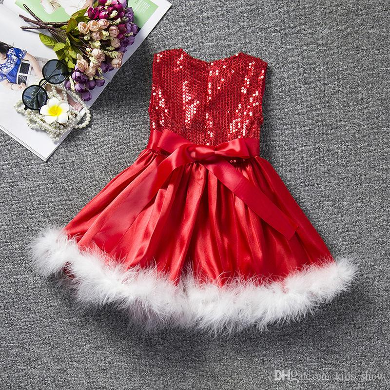 dceb764b4a Christmas Party Girls Dresses Kids Sleeveless Sequined Dresses Christmas  Princess Dress For Girls Baby Girl Clothes Children s Costume