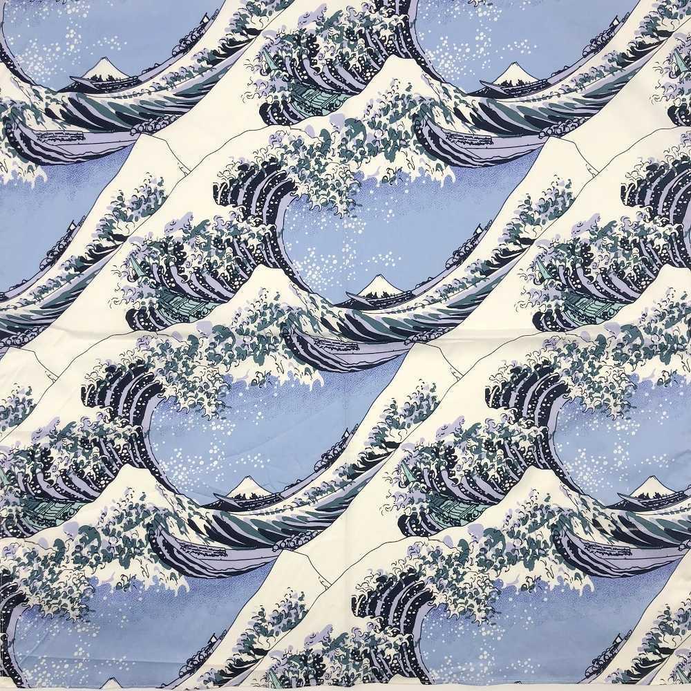 b13ed1cac1e92 Fan de style japonais fleur carnes en coton Furoshiki écharpe 70cm Many  Uses Trente-six vues du mont Fuji Sous la vague Kanagawa