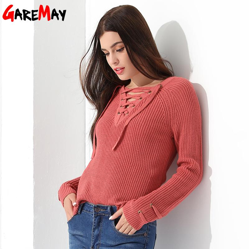 40f33703a3a081 Sweater Women Pullover Long Sleeve Knitted Jumper Sexy Tops Winter ...