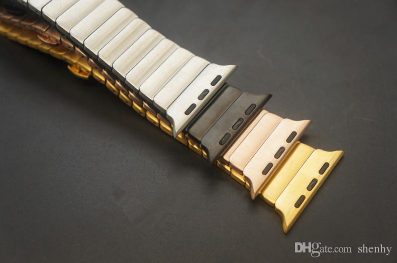 أزياء الفولاذ المقاوم للصدأ فراشة حلقة مشبك معدني رابط الشريط لابل ووتش 38MM 42MM الأشرطة ووتش لسلسلة iwatch 3 2 1