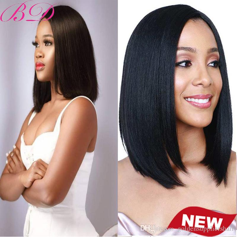Hot Selling Free Shipping Peruvian Straight Hair Lace Front Wig Pure Handmade Lace Frontal Short Bob Human Hair Wig