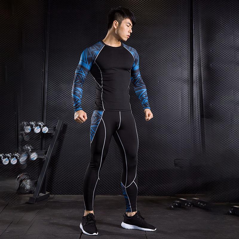 59cbf6871ed7 Traje deportivo de compresión de los hombres gimnasio de entrenamiento  muscular de manga larga T-shirt polainas hombres capa base ropa interior ...