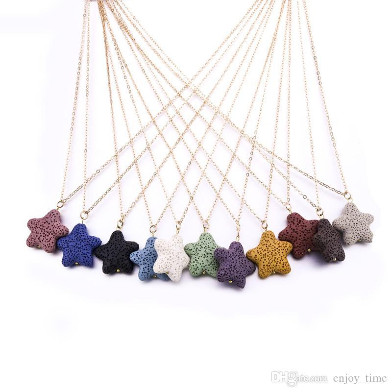 Мода Позолоченные Любовь Сердце Морская Звезда Лава Камень Ожерелье Вулканический Рок Ароматерапия Эфирное Масло Диффузор Ожерелье Для Женщин Ювелирные Изделия