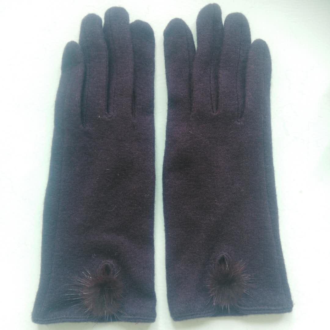 Ladies fashion wool fleece gloves touch screen gloves cute hair ball accessories gloves