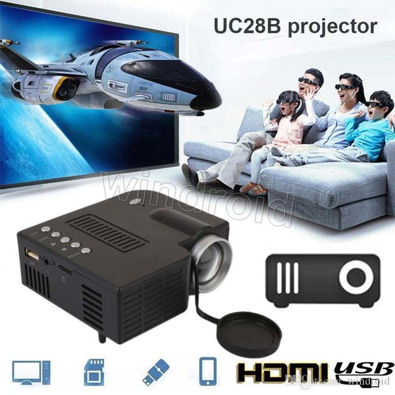 UC28B Projector Mini LED Portable Theater Video Projector PC & Laptop VGA/USB/SD/AV digital pocket home cinema with Retail Package Free DHL