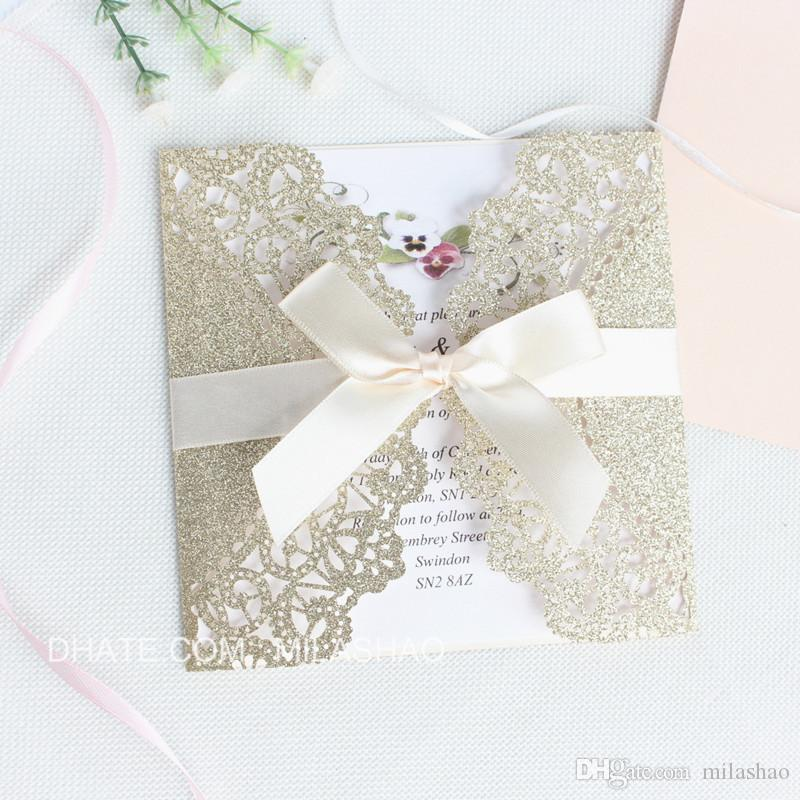 Glittery Invitation Gold Silver Butterfly Lace Laser Cut Wedding Graduation Birthday Invites Customized Printing Make Your Own Invitations
