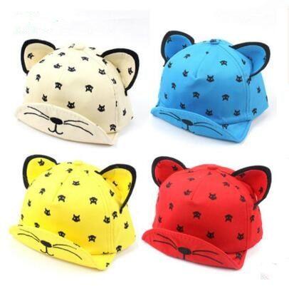 821b310e2d57f 2019 Baby Summer Hat Lovely Cat Ear Sun Hat Kids Baseball Cap For Children  Newborn Toddler Boys Girls Cartoon Peaked Cap DHL From Crazyfairyland