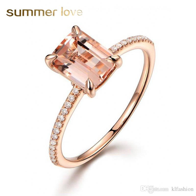 a8999eb547 2019 2018 Fashion Rose Gold Square Zircon Wedding Ring Women Creative  Personality Inlaid High Quality Crystals Zircon Engagement Ring From  Klfashion, ...
