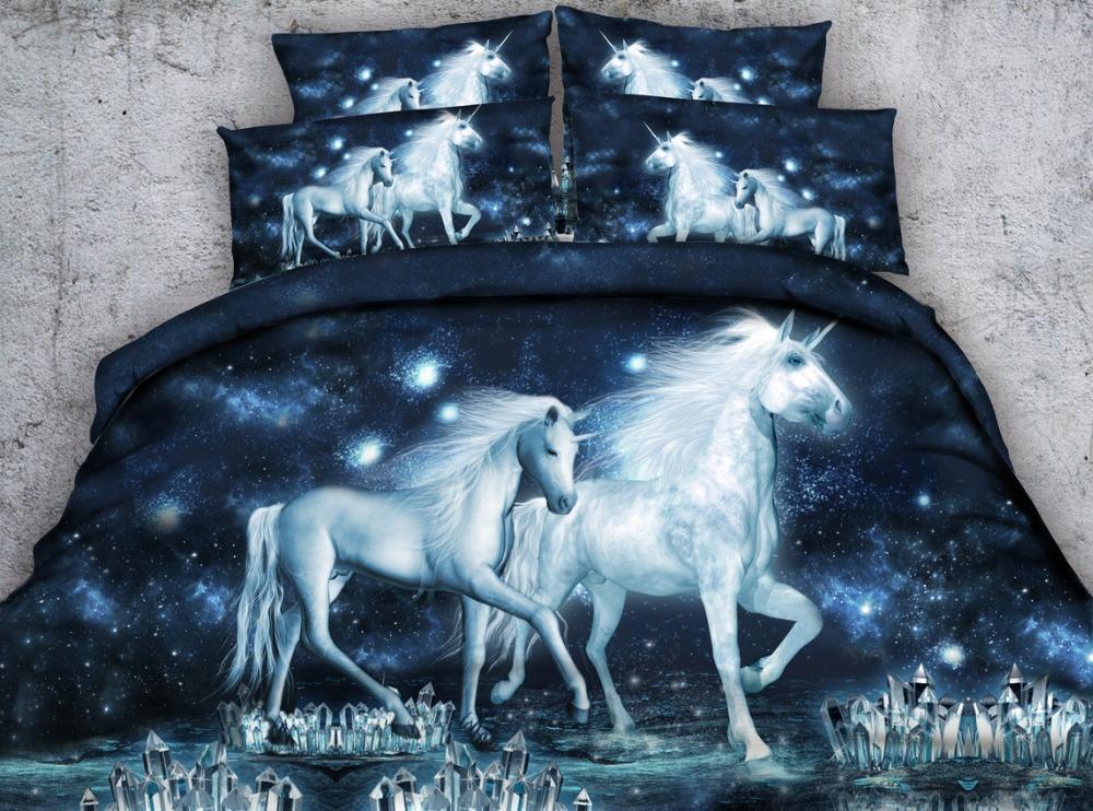 Hd Digital Print Bed Linen Girls Fancy White Unicorn Printed Bedding Set  Purple / Blue / Silver Sheets Duvet Cover Set Comforter Cover King Bedding  Duvet ...