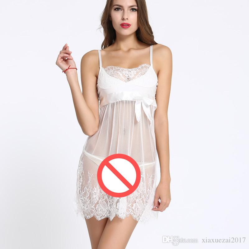 5b15b1812 Plus Size Women s Sleepwear Lace Nightgown Satin Robe Nightdress Sexy Night  Robe Lace Bathrobe Wedding Bride Bridesmaid Robes Pajamas Pyjama