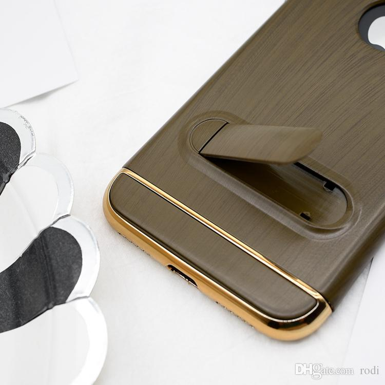 3in1 Wooden Stripe Back Cover Build-In Magnetic Car Mounts With Aluminum Metal Frame Buttons Phone Case For Apple iPhone X / 10 Stand Shell