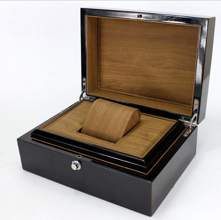 Top Black Wooden Watch Box Personal Use Watch Storage Case For Single New Jewelry Gift Package Box Case