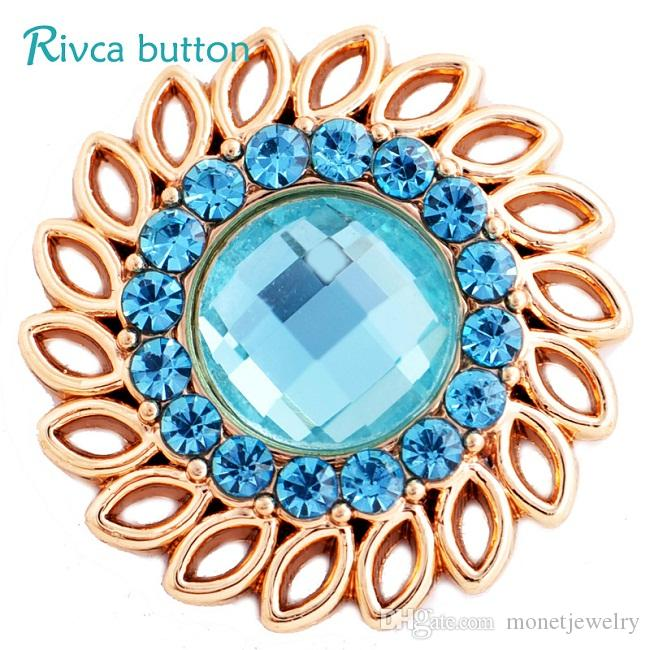 D03222 Rivca Snap Button Rhinestone Metal Style For Women Diy Jewelry cellphone shell Bangle Europe Beads Christmas Gifts Snap Button