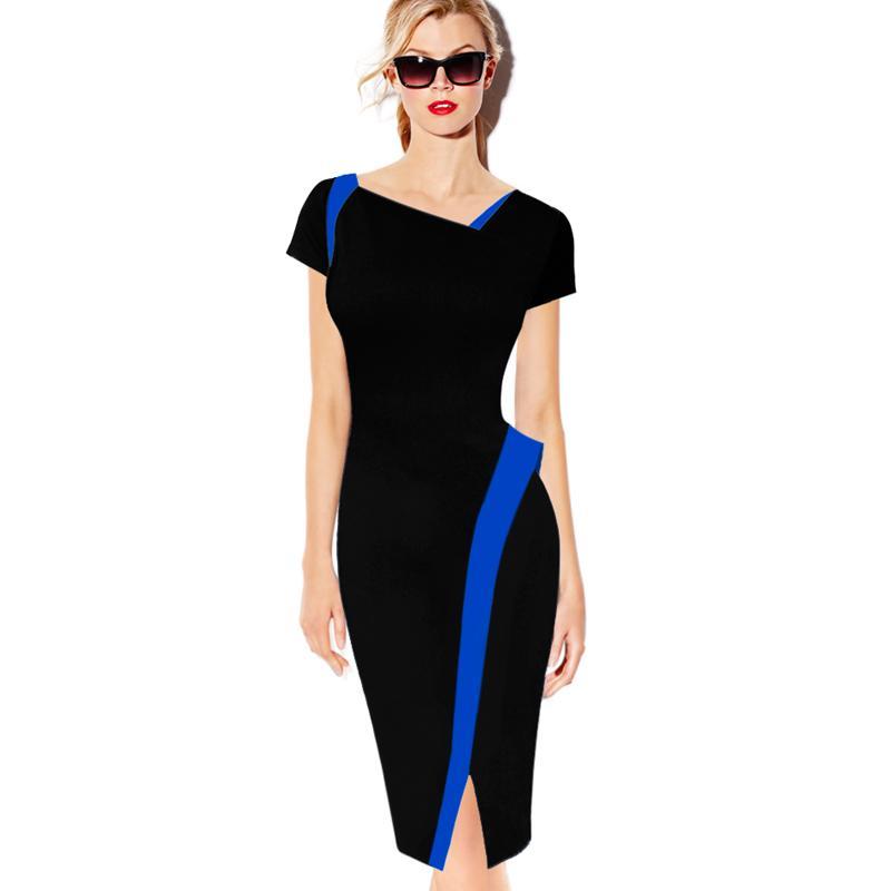941972e00623 Compre Lcw Womens Elegante Asymmical Frente Fenda Novidade Patchwork Fino  Ocasional Desgaste Para Trabalhar Escritório Partido Lápis Bainha Vestido  De ...