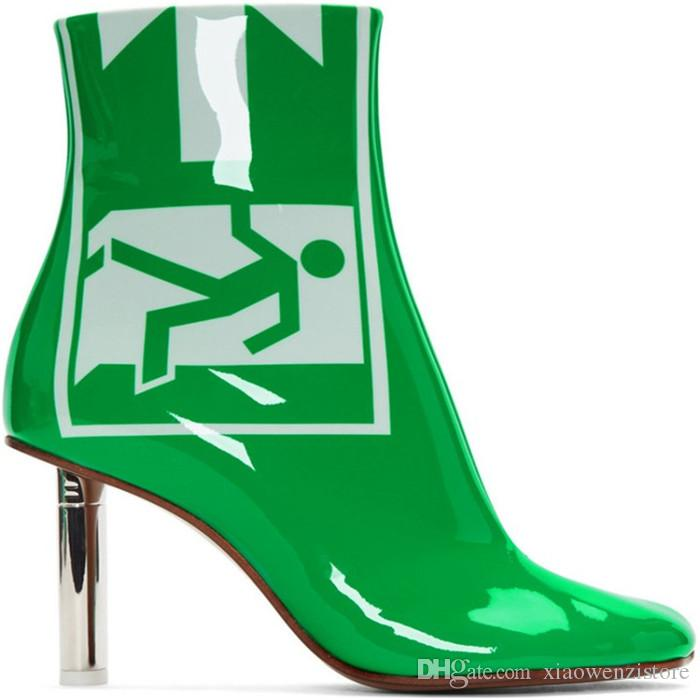 07579e225613 Green Patent Leather Lighter Heel Ankle Boots Women Metal High Heel ...