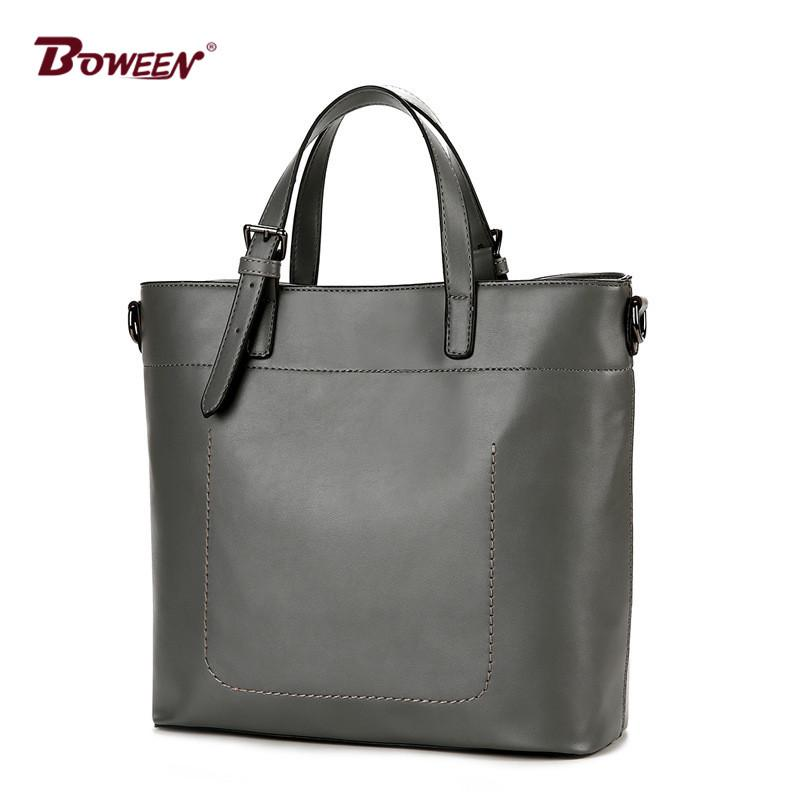 efbf89471b European Style Women Tote Bag Gray Fashion Large Capacity Solid Pu ...