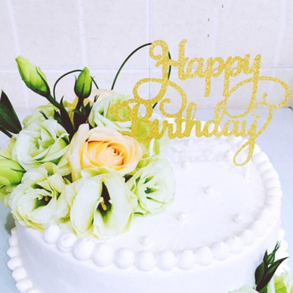 Online Cheap Gold Happy Birthday Cake Topper Topo De Bolo Wedding ...