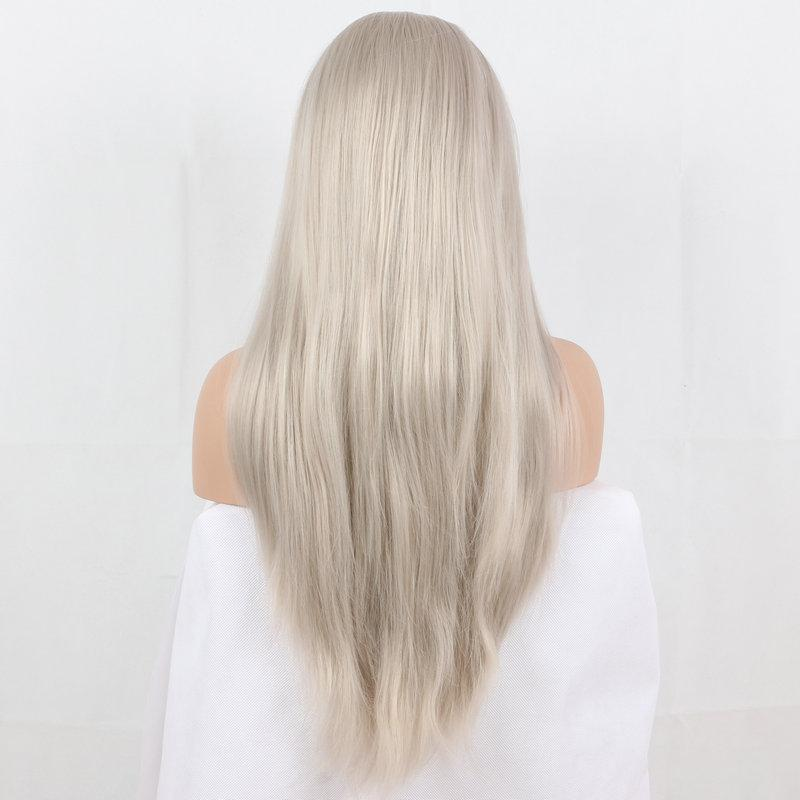 Lace Front Wigs picture color mixed blonde silky straight synthetic lace front wigs roots natural blonde glueless heat resistant fiber hair