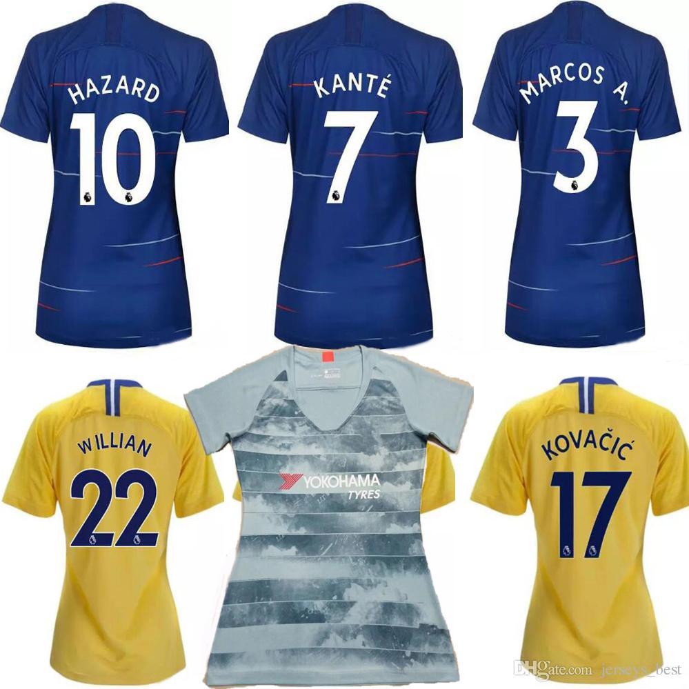 afb93e85438b1 18 19 HAZARD Camiseta Para Mujer 2018 2019 GIROUD BATSHUAYI Camiseta De  Fútbol Para Mujer MORATA Camiseta De Fútbol Para Mujer WILLIAN PEDRO  Camiseta De ...