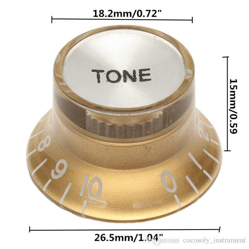 Guitar Replacement 2 Volume & 2 Tone Gold Speed Control Volume Tone Knob For Electric Guitar Musical Instruments Accessories
