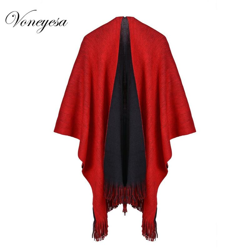 Voneyesa Winter Knitted Shawl Scarf Fashion Women Warm Knitted Poncho Scarves Solid Color Winter Capes Cahmere Pashmina RO17062