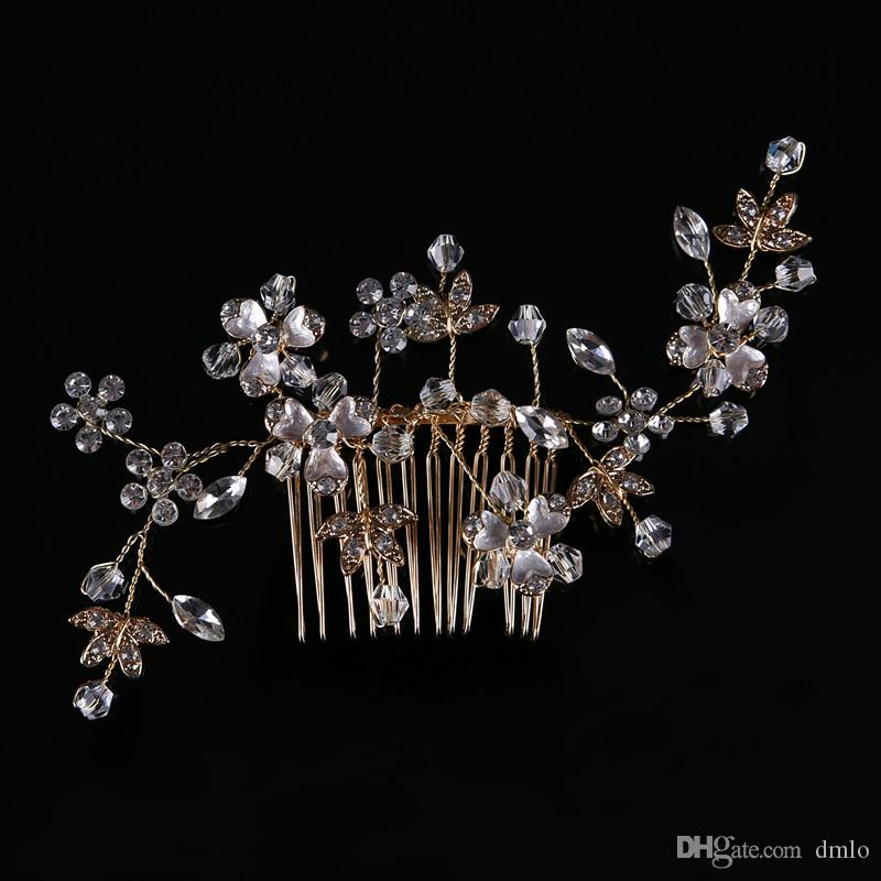 Gold Silver Bridal Wedding Hair Combs Crystal Bride Hair Comb Girls Bridal Headpiece for Women Rhinestone Headdress Hair Jewelry Accessories