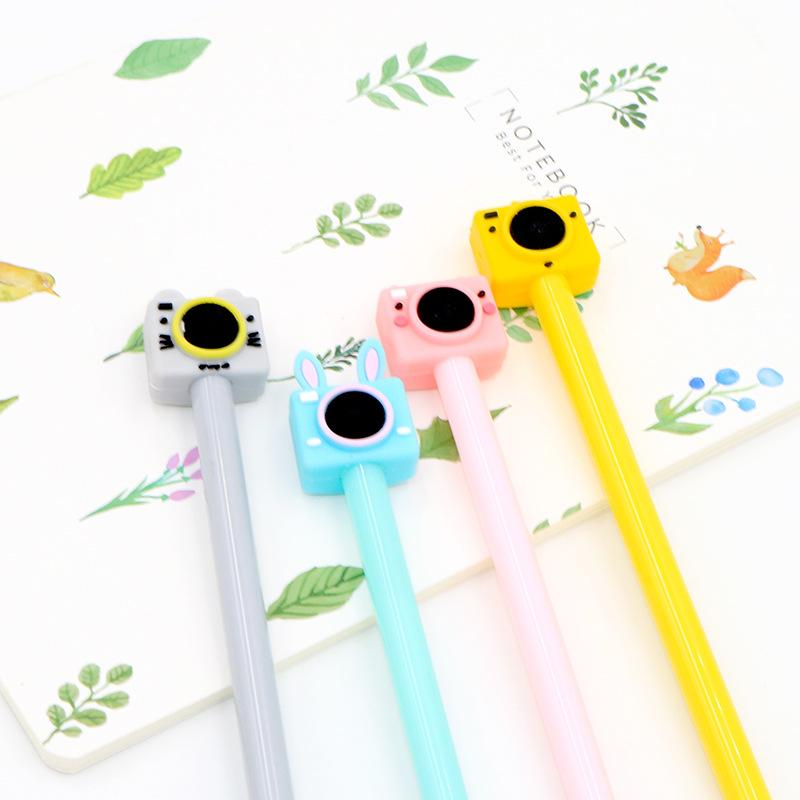 2 pcs 0.5mm New Cute Color Camera Pens Gel Black Pen Writing For School Supplies Stationery Items Kawaii Pen Stationery Items